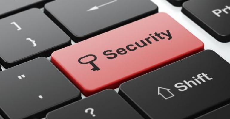 red security key on a computer keyboard