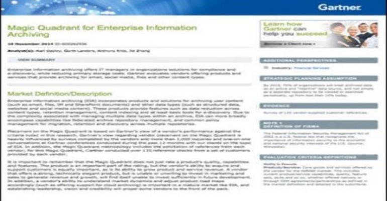 The Gartner Magic Quadrant for Enterprise Information Archiving, 2014