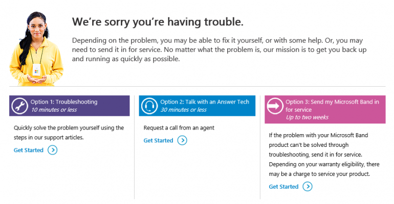 Getting your Microsoft Band replaced
