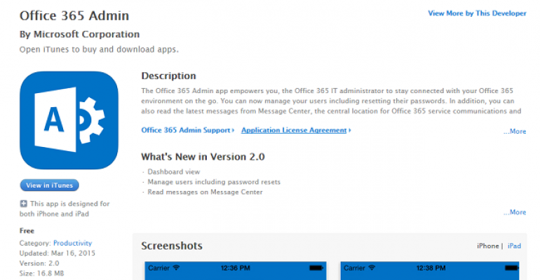 Using the updated version of the Office 365 Admin app
