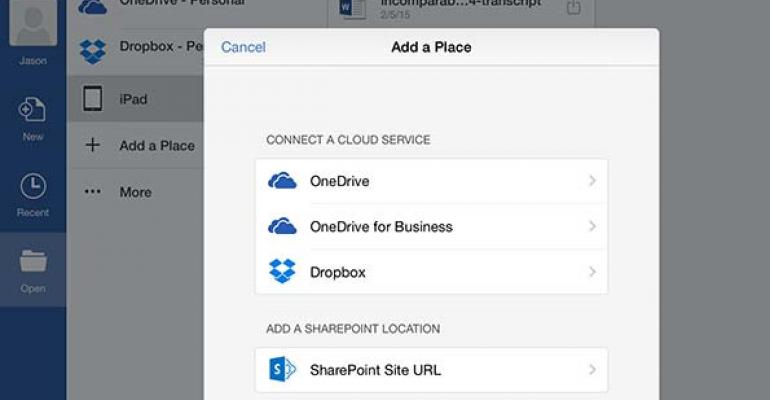 Using cloud storage and premium features with Office for iOS