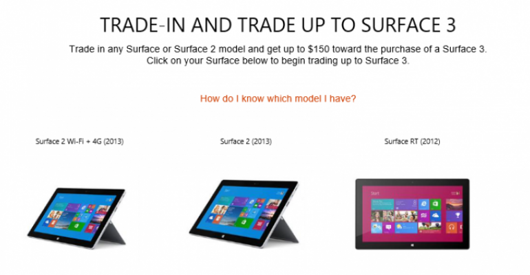 Get $150 towards Surface 3 by trading in Surface RT or Surface 2