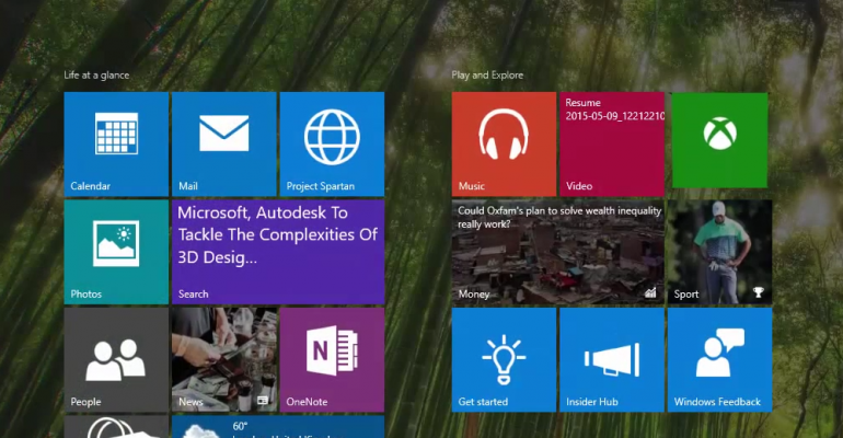 Windows 10 build 10114 shows off modified Start Menu/Screen