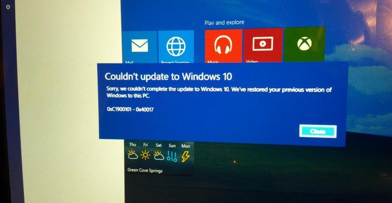 Windows 10 build 10122 upgrade failure work around