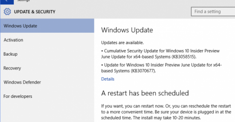 Issue in Windows 10 Build 10130 prevents detection of new preview builds