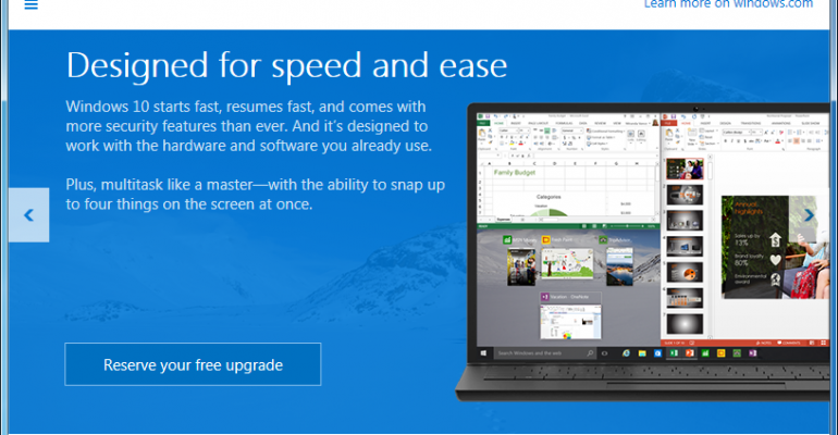 Windows 10 upgrade will pre-download to reserved systems
