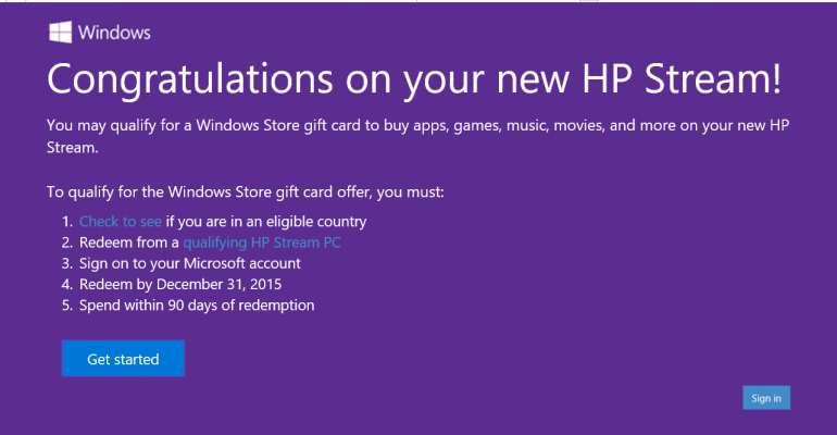 If you own an HP Stream you might be eligible for a $25 Windows Store credit