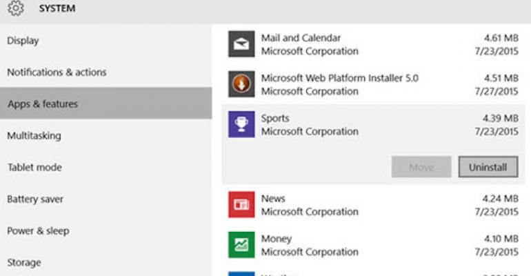 Can I uninstall the built-in Windows 10 modern applications such as Mail and Calendar?