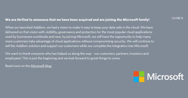 Microsoft Confirms Acquisition of Cloud Security Company Adallom