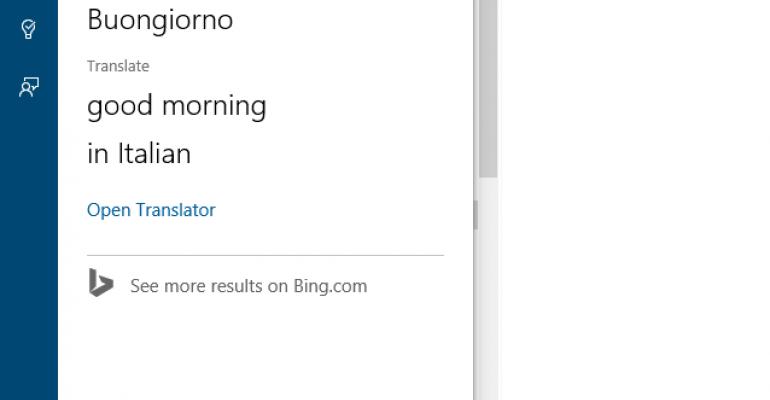 Cortana now provides translation services