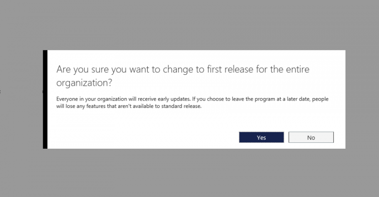 How to change to the First Release Branch for Office 365