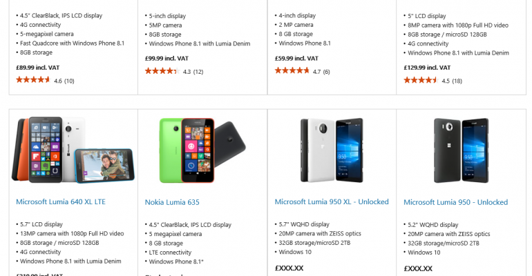 Upcoming Lumia 950 and 950XL outted on Microsoft Store website