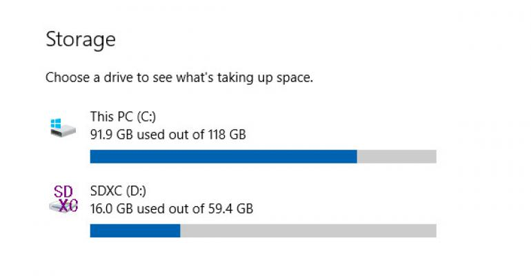 View disk space use in Windows 10