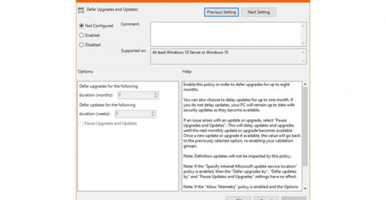 GPO Settings for Windows Update for Business