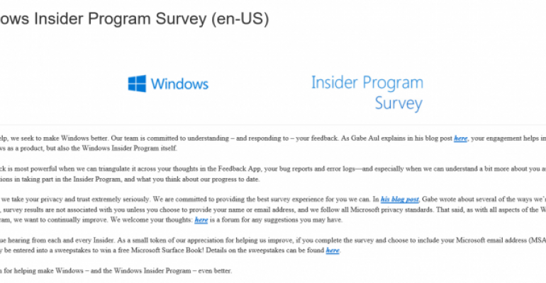 Windows Insider Program wants to hear from Windows 10 testers