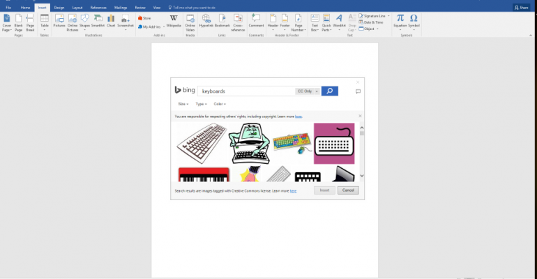 Bing Images Integrated into Microsoft Edge and Office
