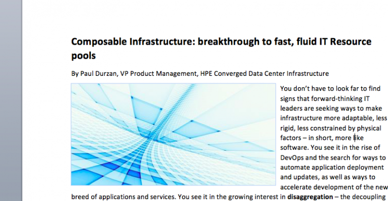 Composable Infrastructure: Breakthrough to Fast, Fluid IT Resource Pools
