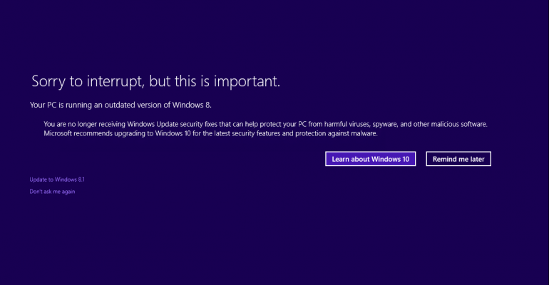 Enhanced Windows Upgrade Messages Give Nod to Windows 10
