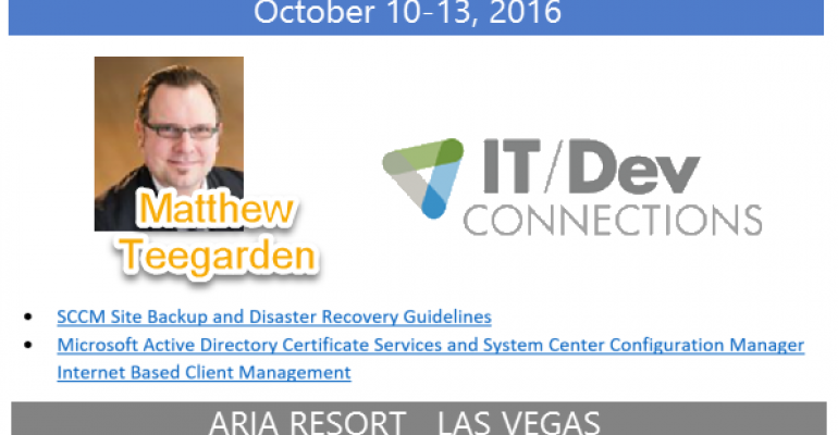 IT/Dev Connections 2016 Speaker Highlight: Matthew Teegarden