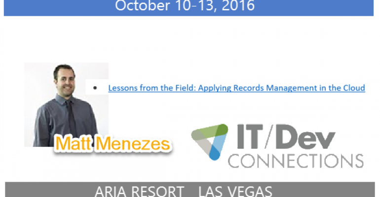 IT/Dev Connections 2016 Speaker Highlight: Matt Menezes