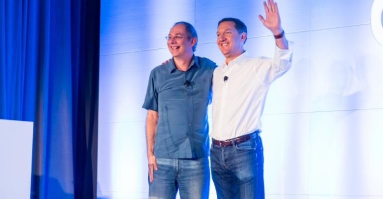Wim Coekaerts vice president of open source at Microsoft and Jim Whitehurst CEO of Red Hat on stage at LinuxCon 2016 in Toronto Aug 23 2016 Licensed under Creative Commons Attribution by Libby Clark