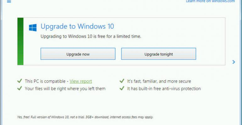 microsoft free upgrade from 8.1 to 10
