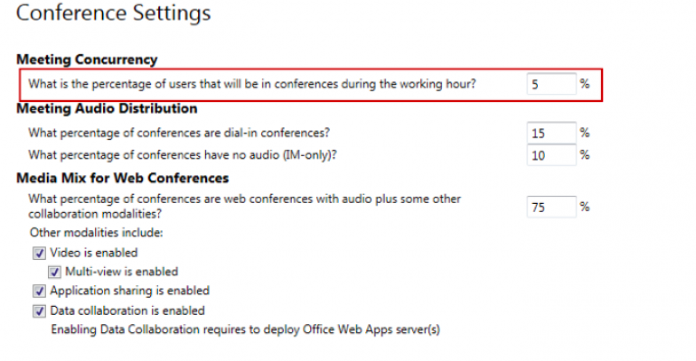 Skype Business Server 2015 Planning Tool Conferencing Values