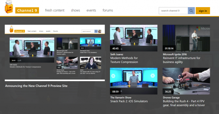 Mircosoft's Channel 9 New Site Layout in Preview