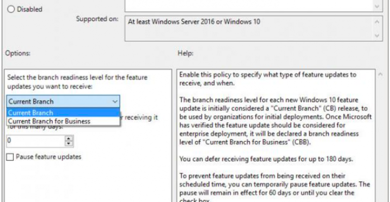 Use Current Branch for Business for a machine via Group Policy