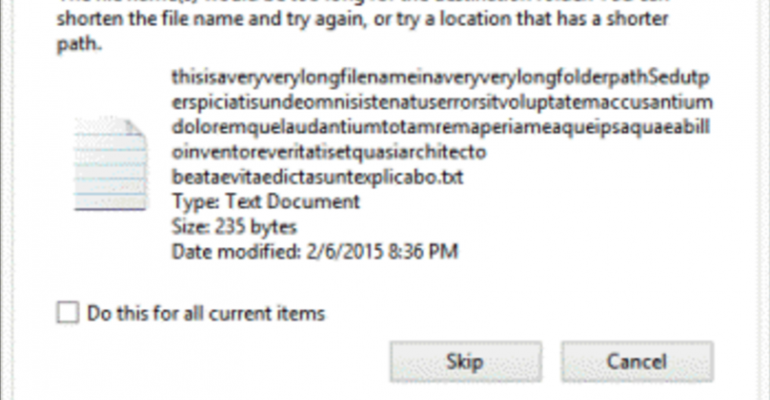 Enable long file name support in Windows 10