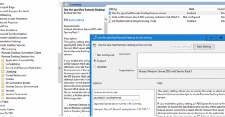 Configure RD Licensing Server via group policy