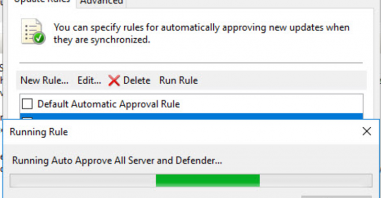 Automatic approval in WSUS not working for existing updates. Why?