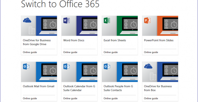 Resource: Microsoft Guides for Switching from Google Services to Office 365 For Business