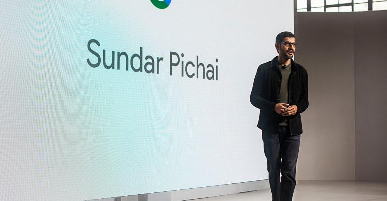 Pichai Sundararajan known as Sundar Pichai CEO of Google Inc speaks during an event last year