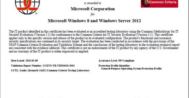 Common Criteria Certification For Windows 8 And Windows Server 2012