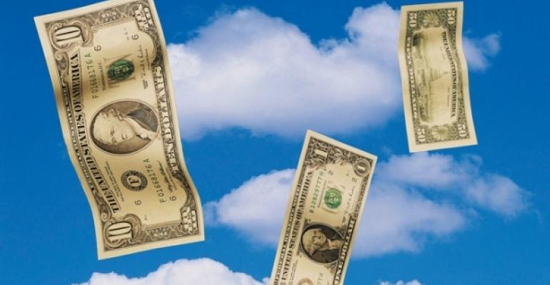 U.S. paper currency in clouds