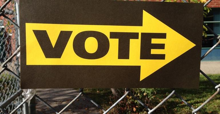 A sign urging people to vote.