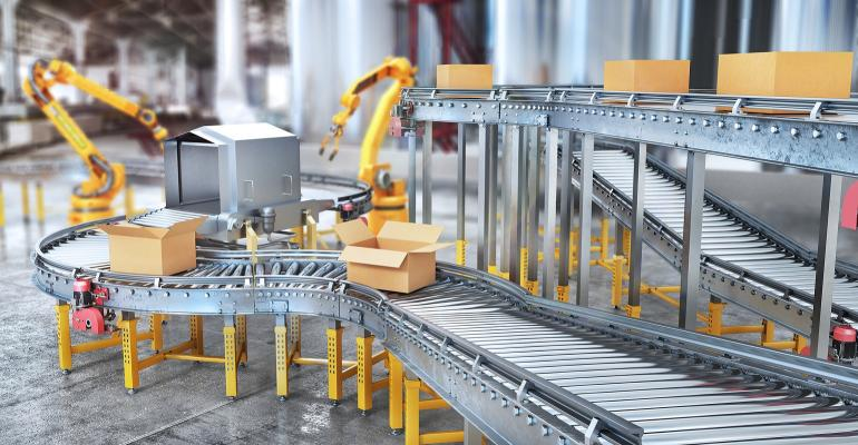 robots filling boxes in warehouse