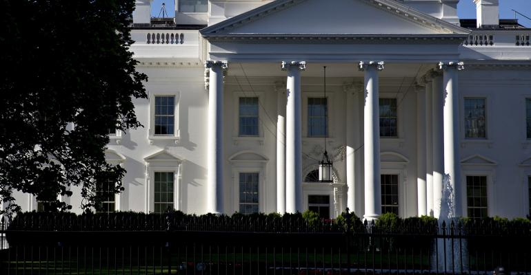 A shot of the White House exterior, daytime