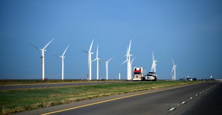 A wind farm in Adrian, Texas