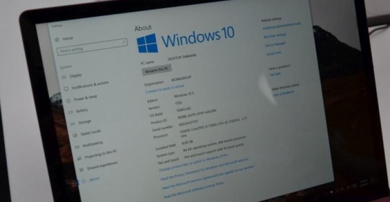 Monitor display of Windows 10 settings