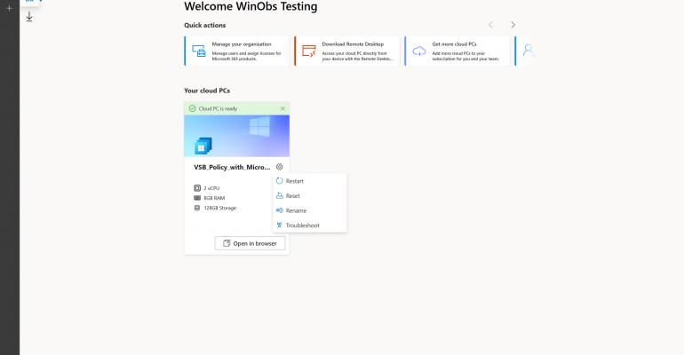 Windows 365 User Settings Menu