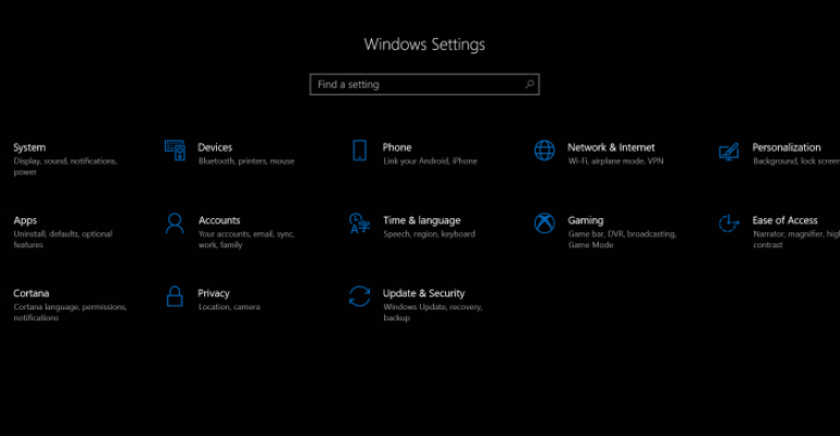 Windows Settings App Main Page in Redstone 4 Build 17074