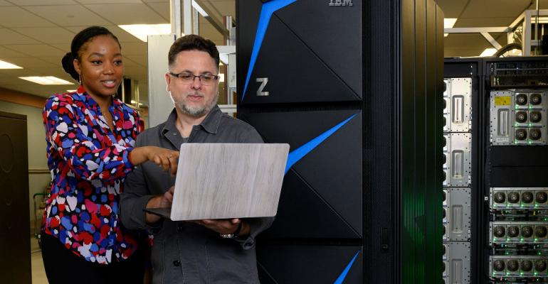IBM designers Shani Sandy and Don Spangler in front of the new z15 mainframe.