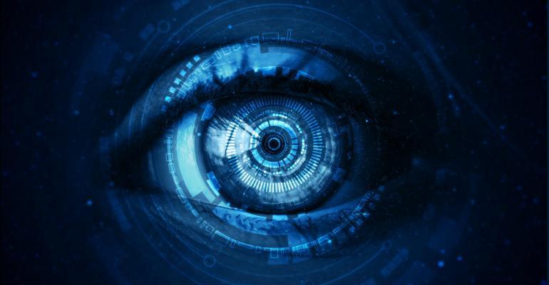 Illustration of eyeball showing digital image
