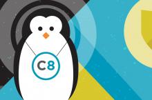 Linux mascot wearing Capsule8 pendant.
