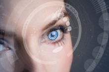 Iris recognition concept Smart contact lens. Mixed media.