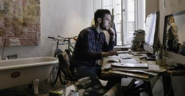 employee working on computer from home