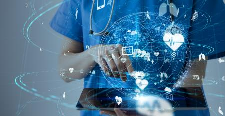 doctor with tablet ai cloud technology