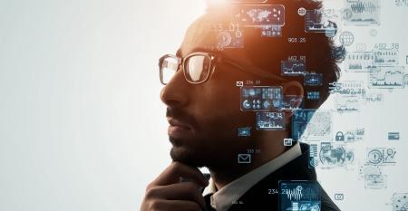 data scientist examining data